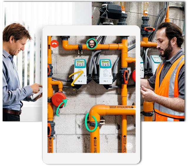 FREE OF CHARGE UNTIL AUGUST 31st. With PTC's AR tool, Vuforia Chalk, users can remotely assist in real time to guide those who need help, for example in a service operation in a place with a complex system.