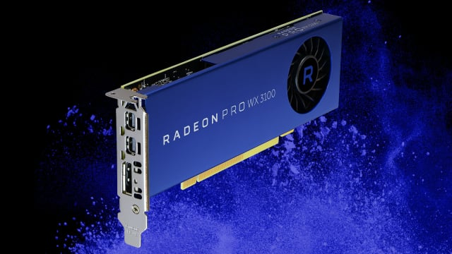 The Radeon Pro WX 3100 graphics card performs parallel processing, runs floating-point calculations at 1.25 TFLOPS, supports OpenCL 2.0, and is designed to boost the performance of major CAD/CAM/CAE applications. (Image courtesy of AMD.)