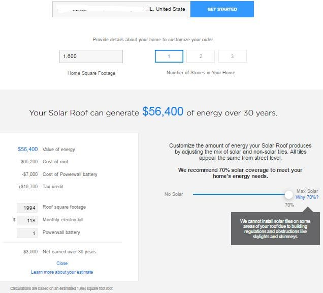 Tesla Solar Calculator Results