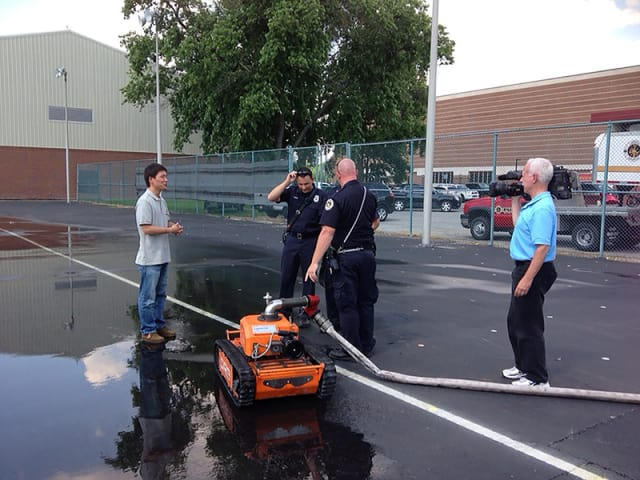 Purdue researchers created a new design to improve firefighting robots and increase maneuverability to fight fires better and save lives. (Image courtesy of Purdue.)