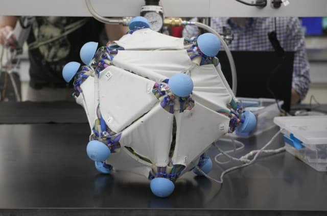 The robotic skins can be reconfigured for different tasks, such as this system capable of rolling around. (Image courtesy of Yale University.)