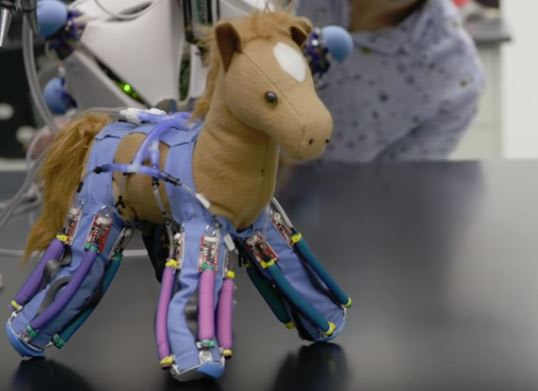 Soft robotic skin can turn a plush toy into a walking robot. (Image courtesy of Yale University.)