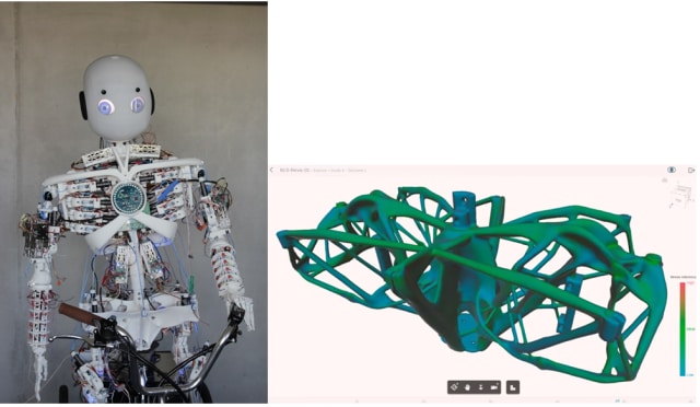 Left: Roboy 2.0. Right: Designing Roboy's pelvis in Autodesk Generative Design. (Images courtesy of Roboy and Autodesk respectively.)