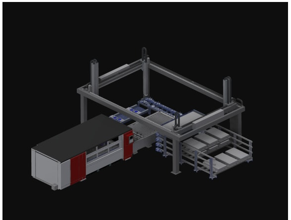 LASORTING controls the production process, including loading, cutting, sorting and storage. (Image courtesy of MC Machinery Systems/Mitsubishi.)
