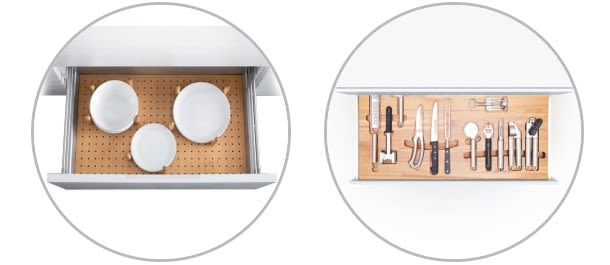 Stylish drawer components include wooden plate holders. (Image courtesy of SAMET.)