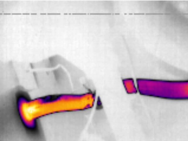 A thermal camera image of an exhaust pipe. (Image courtesy of Tucker Sawyer.)