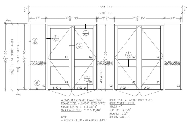 Shop drawings like for these aluminum doors are a big part of a submittal. (Picture courtesy of Forest)