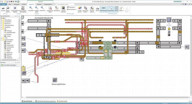 Mechtop used Tecnomatix Plant Simulation to verify its conveyor system design for the food container cleaning plant. (Image courtesy of Mechtop and Siemens.)