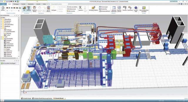 Tecnomatix Plant Simulation incorporating Solid Edge design data. (Image courtesy of Mechtop and Siemens.)