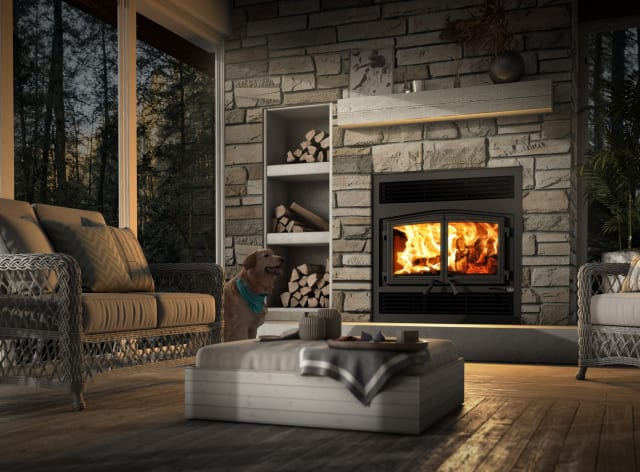 Wood-burning fireplaces, enjoyed by man and man's best friend alike, must be designed to minimize harmful emissions. (Image courtesy of Stove Builder International.)