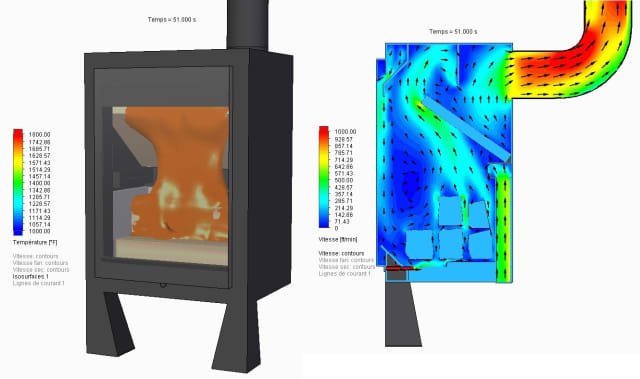 SBI used FloEFD to simulate and optimize their stove and fireplace designs. (Image courtesy of SBI.)