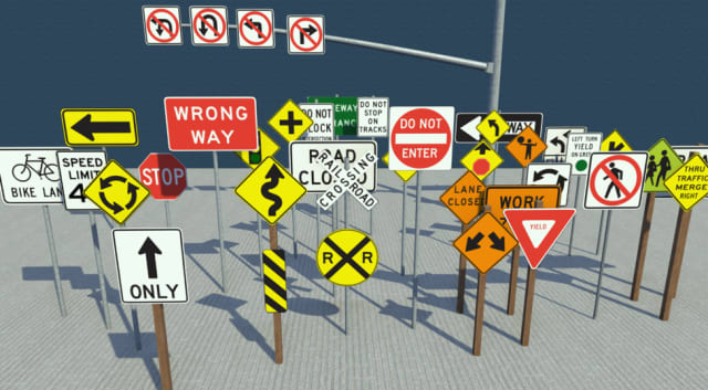 A collection of some of the customizable signage available for VectorZero RoadRunner. (Image courtesy of VectorZero.)