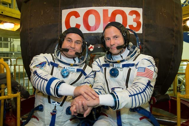 Astronaut Nick Hague and Cosmonaut Aleksey Ovchinin before launch.