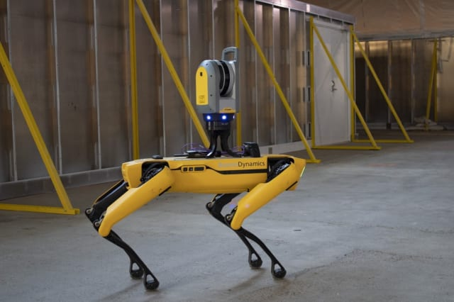 Boston Dynamics Spot with a Trimble laser scanner used to measure as-built Denver airport terminal. (Picture courtesy of Trimble)