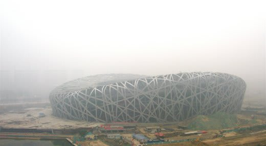 The smog that surrounded Beijing National Stadium before the 2008 Olympics. (Image courtesy of US Department of Energy.)