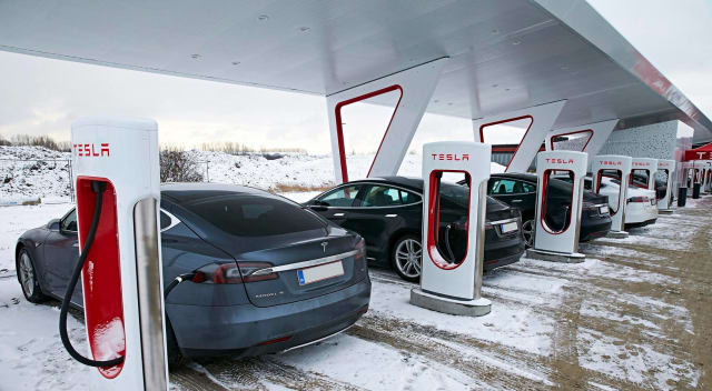 Tesla Superchargers in Alberta, Canada. (Image courtesy of Tesla.)