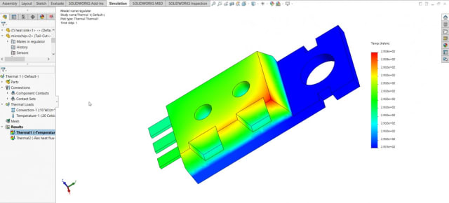 Screenshot of a thermal analysis in SOLIDWORKS Simulation. (Image courtesy of Javelin Technologies.)