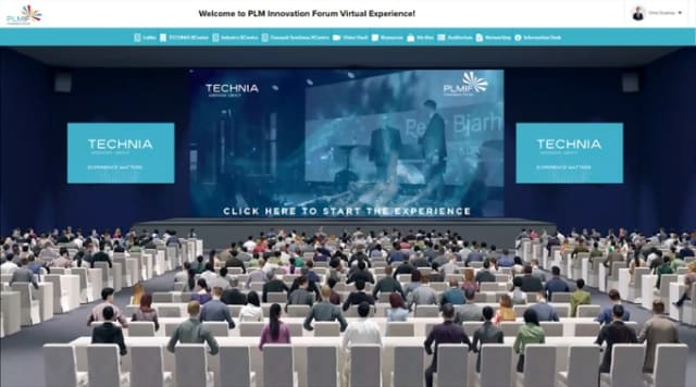 The digital view that first meets the visitors of the virtual edition of TECHNIA's big event, PLMIF Virtual Experience 2020.