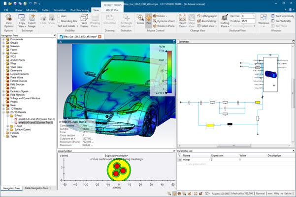 Example of Dassault's CST Studio Interface. Dassault Systèmes' CST Studio Suite is a high-performance 3D electromagnetic (EM) software package for the design, analysis and optimization of EM components and systems. Dassault bought the solution two years ago and it is one of the dominant softwares in its area with almost half of the market for the EM area. It is also one of the main tools for Scanscot's analysts and consultants. Electromagnetic field solvers for applications across the EM spectrum are available in a single user interface in CST Studio. The solvers can be connected to perform hybrid simulations, giving engineers the flexibility to analyze entire systems consisting of several components in an efficient and simple way. Co-design with other SIMULIA products allows EM simulation to be integrated into the design flow and drives the development process from the earliest stages. Common areas for EM analysis include performance and efficiency of antennas and filters, electromagnetic compatibility and interference (EMC / EMI), exposure of the human body to EM fields, electromechanical effects in motors and generators and thermal effects in high power devices.