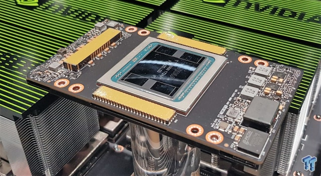 The Tesla V100 is making it rain for NVIDIA's datacenter segment. Predicting that the GPU's parallel processing power would be better for deep learning AI was a masterstroke of foresight by NVIDIA CEO Jensen Huang. (Image courtesy of NVDIA.)