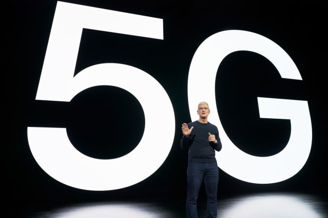 Apple CEO Tim Cook unveiling the iPhone 12. The iPhone is ready for 5G, but is 5G ready for the iPhone? (Image courtesy of Apple.)