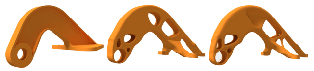 A topology optimised bracket. The material has been removed from non-load bearing regions. (Image courtesy of Autodesk.)