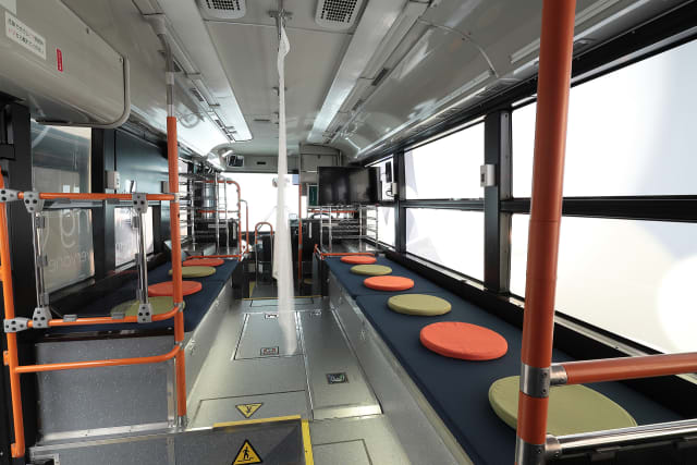 The Moving e has seating areas for disaster victims. (Image courtesy of Toyota.)