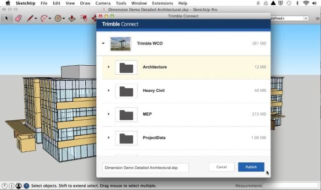 A SketchUp model being published to a specific location in Trimble Connect. (Image courtesy of Trimble.)