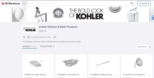 Kohler's 3D models hosted on Sketchup 3D Warehouse.