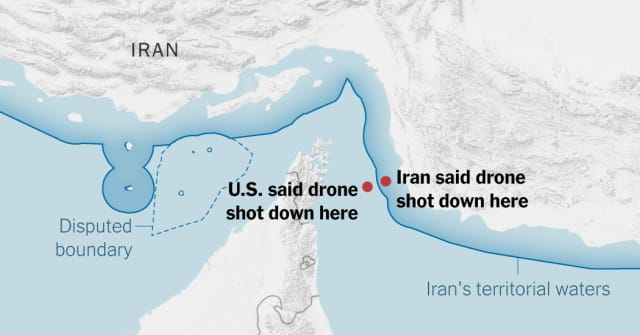 New York Times infographic on disputed claims of where the drone was shot down.