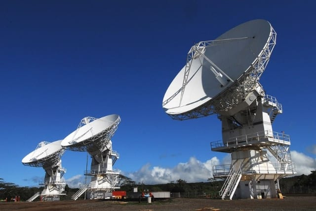 A MUOS ground station in Hawai'i. Four of these stations exist around the globe, and each one helps facilitate high quality, data rich communications to troops operating on the ground.
