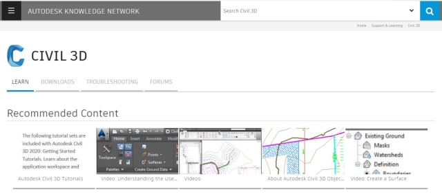 Online documentation for learning Civil 3D. (Image from Autodesk.com.)
