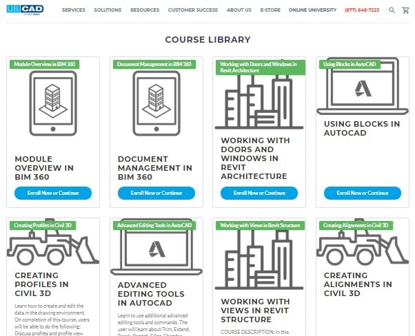 A portion of the U.S. CAD Online University course library. (Image courtesy of U.S.CAD.)