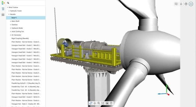 Vertex's BOM Engagement tool ties a system's or product's digital twin to its bill of materials, regardless of how large and/or complex its 3D model data is. (Image courtesy of Vertex.)