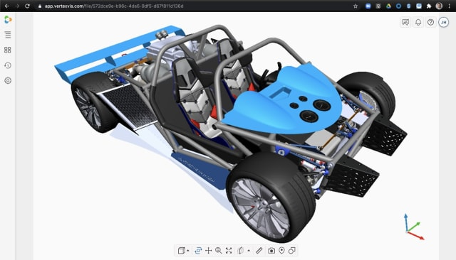 This is a complete model of a concept car. It loads quickly and is visible from a web browser using Vertex. Nothing is installed on your device. It can be used on a basic laptop without GPUs. As you interact with the model, the cloud-based application is pulling together all of those different parts of the model scattered across multiple, secure servers. The Vertex application is compositing them, rendering the full model and streaming the image to your device. (Picture courtesy of Vertex Software.)