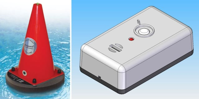 The Poolguard cone (left) and wireless module (right). (Images courtesy of Poolguard/Levi Zima.)