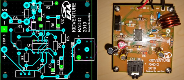 The KidVenture radio circuit layout and board. (Images courtesy of Levi Zima.)