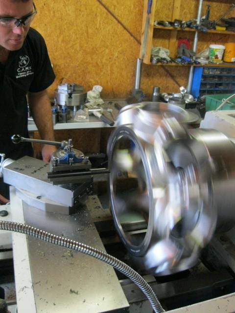 Machining the rotary engine. (Image courtesy of Classic Aero Machining Service.)