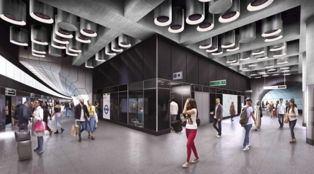 Crossrail is a large-scale railway project aiming to connect Londoners with reliable transit. In some cases, such as the proposed Tottenham Court Road station shown here, Crossrail will unify transit by coexisting with current Underground stations. (Image courtesy of Crossrail.)