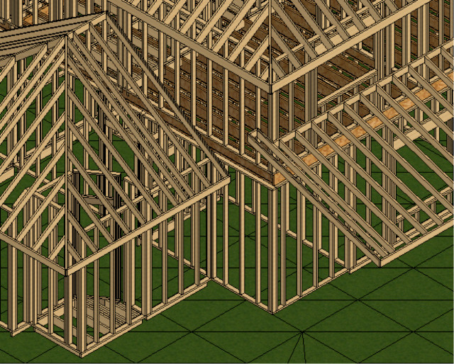 Figure 9: Although not immediately apparent, drawing walls, floors and roof simultaneously generates the associated framing system that is specified within the element's properties. Seeing or quantifying the underlying structure is only a matter of toggling the appropriate view control or estimating tool.