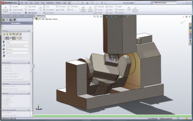 Example of machine simulation in HSMWORKS.