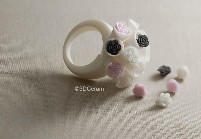 A ring 3D printed in zirconia with the Ceramaker. (Image courtesy of 3DCeram.)