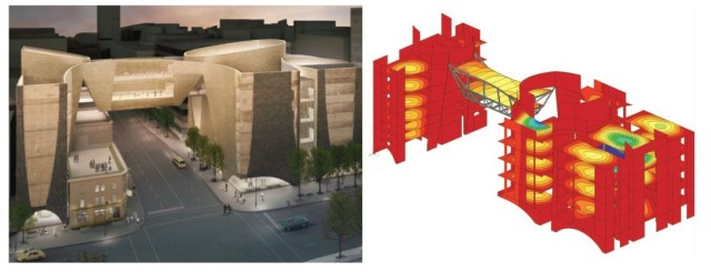Figure 1. Scia makes mesh from a Rhino building model for a structural analysis. Image courtesy of KPFF.