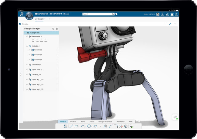 Xdesign on an iPad. (Image courtesy of SOLIDWORKS.)