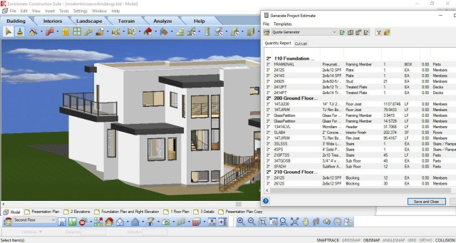 3D CAD model of house and its material list. Image courtesy of Cadsoft.