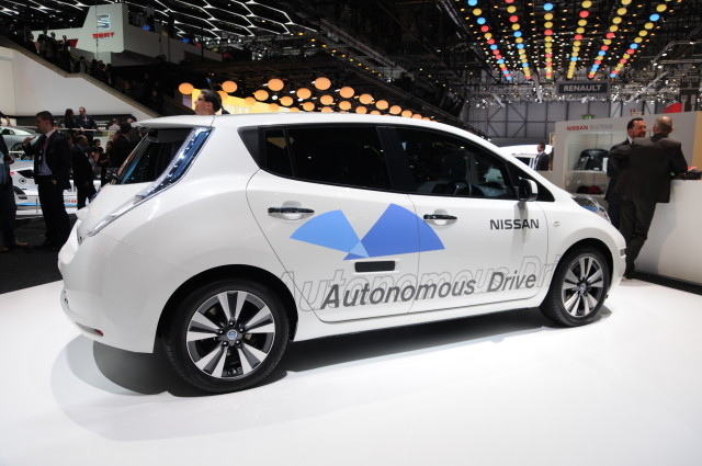 Nissan autonomous car prototype (using a Nissan Leaf electric car) exhibited at the Geneva Motor Show 2014. (Norbert Aepli, Switzerland [CC BY 3.0 (http://creativecommons.org/licenses/by/3.0)], via Wikimedia Commons)