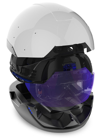 The DAQRI Smart Helmet with its docking/charging station. (Image courtesy of DAQRI.)
