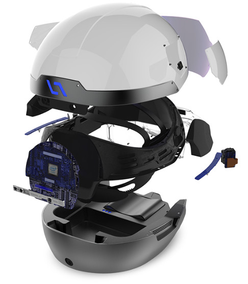 Rear view of the DAQRI Smart Helmet. (Image courtesy of DAQRI.)