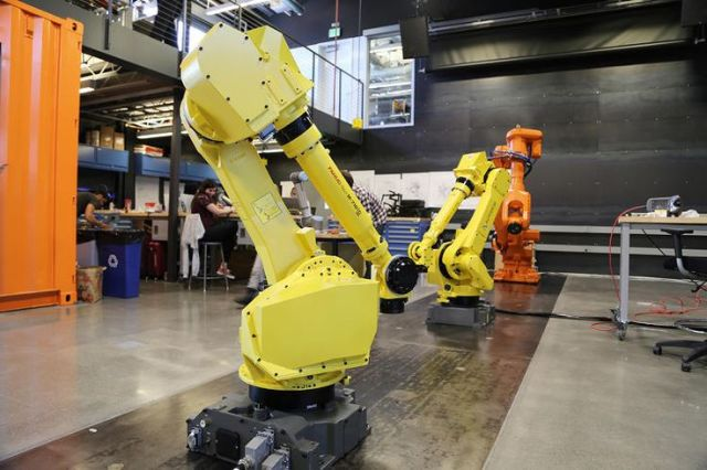 "Inside Autodesk's Pier 9 Robotics Lab, twins ""Castor"" and ""Pollux"" face off."