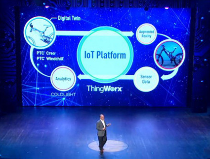 """We are excited."" The ThingWorx IoT platform described by Jim Heppelmann on stage."